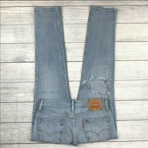 Levi's 511 Distressed Ripped Knee Slim Fit Jeans